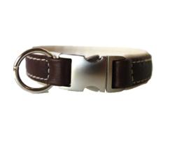 Halsband Leer  Bruin Creme  Halsomvang 28 cm