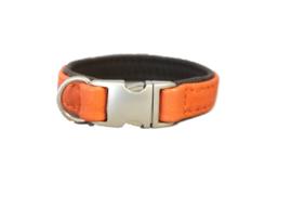Halsband Leer Oranje - Donkerbruin  Halsomvang 26 cm