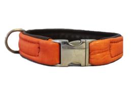 Halsband Leer Oranje - Bruin  Halsomvang 38 cm