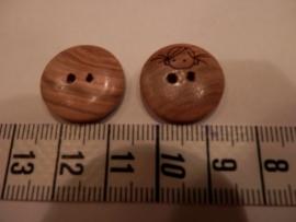 Knoop hout, opdruk poppenhoofdje, doorsnee 18mm