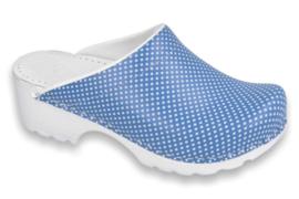 Simson klomp Vollsjo, blauw met print