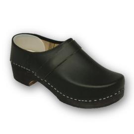 Schoenklomp met houten zool zwart