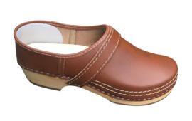 Leren schoenklomp met houten zool bruin