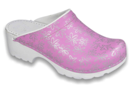 Simson klomp Vollsjo, roze met print