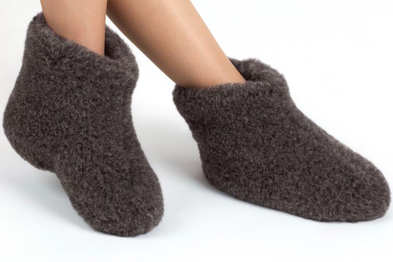 Woolwarmers Wollen Slof Dolly zwart