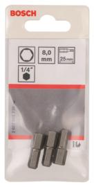 Bosch 2607001730 Inbus Bit 25 mm Extra Hard - HEX8 (3st)