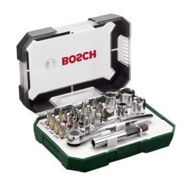 Bosch  26-delige schroefbit- en ratelset met kleurcodering 2607017322