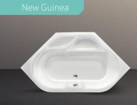 Xenz New Guinea hoekbad  140 x 140 met badafvoer luxe in wit