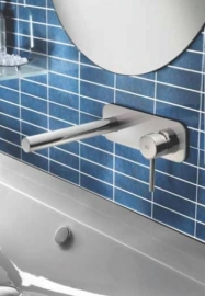 Hotbath BUDDY 006  Inbouw wastafelmengkraan met rechte uitloop en achterplaat, Buddy006CR
