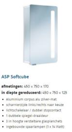 H.s.k. Alu-Spiegelkast ASP Softcube 45 cm breed, 75 cm hoog, 170 of 125 mm diep