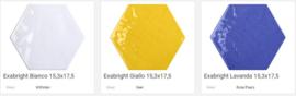 Tonalite Exabright Esagona 15,3 x 17,5 8mm dik in 12 kleuren, Prijs € 89,= pm2
