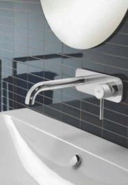 Hotbath BUDDY 006J  Inbouw wastafelmengkraan met rechte uitloop en achterplaat, Buddy006JCR