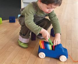 Grimm's vrachtwagen met houten blokjes en trekkoord