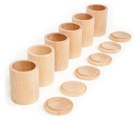 Grapat 6 houten bakjes met deksel, naturel