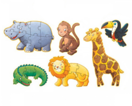 Djeco 6 puzzels, 4-6-9 stukjes, Safaridieren, 2+