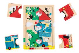 Moulin Roty houten 3 lagen puzzel  Les Bambins