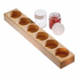 Houten houder voor 6 glazen verfpotjes, 50 ml