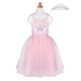Prinsessenjurk roze met Diadeem, 3-4 jaar