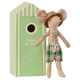 Maileg vader muis in strandhuisje - Dad in Cabin de Plage