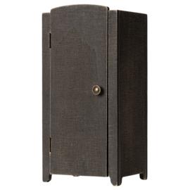 Maileg houten poppenhuis kledingkast met Hangers, Vintage Closet Antraciet, 22cm