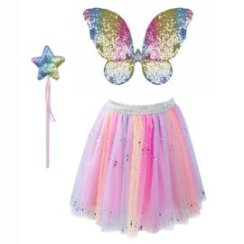 Tule rok met vleugels en toverstafje, regenboog pailletten, 4-6 jaar
