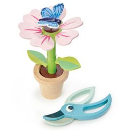 Bloempot met bloem en vlinder - Tender Leaf Toys