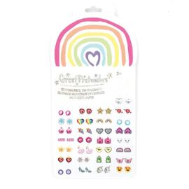 Plakoorbellen Rainbow Love, 60 stuks (30 paar)