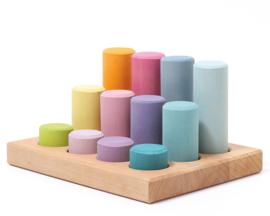 Grimm's Houten Rollers/Staven op sorteerbord, Pastel