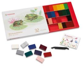 Stockmar Bijenwaskrijtjes, blokjes 32 kleuren in doosje