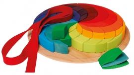 Grimm's grote houten puzzel/blokkenset 'Kleurenspiraal'