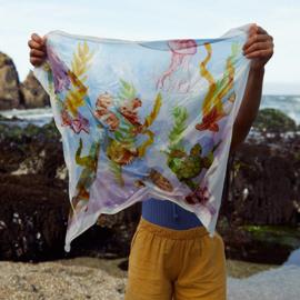 Sarah's Silks Speelzijde Doek, Illustrated Kelp Forest, 53 x 53 cm