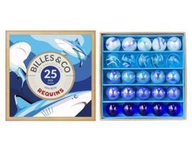 Billes & Co Knikkers in doosje, Mini Box Requins/Haaien, 25 stuks