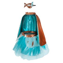 Superheldin Setje, Super-Duper Tutu, Cape en Masker, Copper/Teal, 4-6 jaar