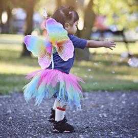 Tule rok met vleugels en toverstafje, regenboog, 4-7 jaar