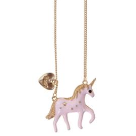 Eenhoorn Ketting Goud / Roze
