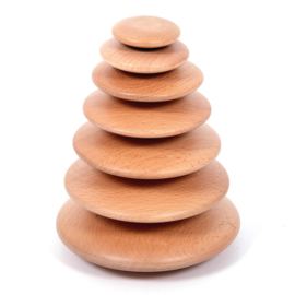 TickiT Houten Stapel Stenen, Wooden Pebbles Naturel, 7-delig