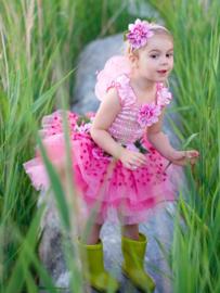 Feeënjurk met vleugels en haarband roze, 3-4 jaar