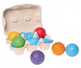 Grimm's 6 gekleurde houten ballen in eierdoosje