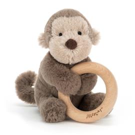 Jellycat Rammelaar met houten Ring Aap 14cm, Shooshu Monkey