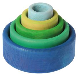 Grimm's houten Stapelbakjes, blauw / groen
