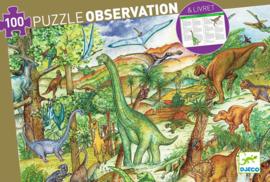 Djeco Ontdek Puzzel 'Dinosaurussen', 100 st, 63x45 cm