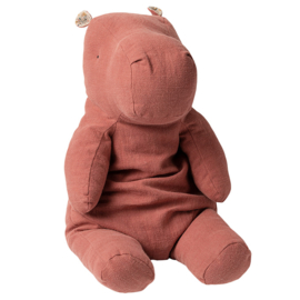Maileg Knuffel Nijlpaard Safari Friends Hippo Large, Dusty Plum, 60cm