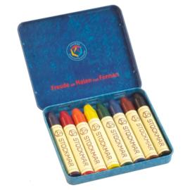 Stockmar Bijenwaskrijtjes, stiftjes 8 kleuren in blikje