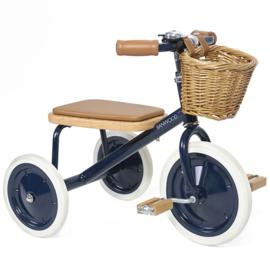 Banwood Trike Driewieler - Navy - met duwstang en mandje