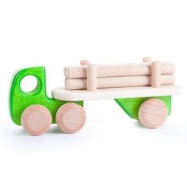 Bajo Houten vrachtwagen met aanhanger, groen