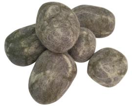 Papoose Set stenen, Wolvilt, 8 cm, 6 stuks