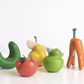 Plan Toys Houten Kromkommer Snijset Groenten en Fruit