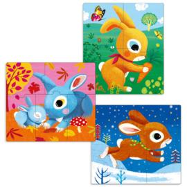 Djeco 3 puzzels, 3-4-5 stukjes, konijntjes