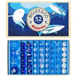 Billes & Co Knikkers in doosje, Requins Box / Haaien, 52 stuks
