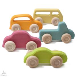 Grimm's 5 gekleurde houten auto's, Slimline